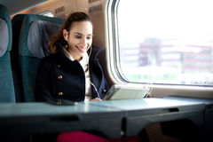 Young woman traveling on the train Royalty Free Stock Photos