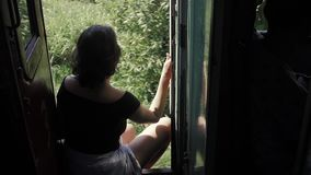 Young woman traveling by train in Sri Lanka, seat, no doors, jungle background. Young woman traveling by train stock video footage