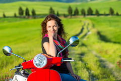 Young woman traveling in tuscany Stock Images