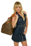 Young woman traveller. Beautiful young woman traveller with bag Royalty Free Stock Photos