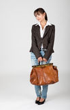 Young woman is travelling Stock Images