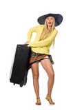 The young woman in travelling concept on white Royalty Free Stock Photography