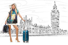 The young woman travelling to london in uk Royalty Free Stock Image