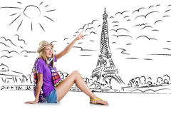 The young woman travelling to paris Royalty Free Stock Image