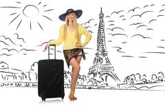 The young woman travelling to paris Stock Images