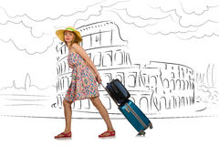 The young woman travelling to rome in italy Stock Photo