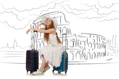 The young woman travelling to rome in italy Royalty Free Stock Photo