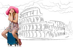 The young woman travelling to rome in italy Royalty Free Stock Image