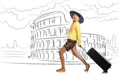 The young woman travelling to rome in italy Stock Photos