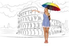 The young woman travelling to rome in italy Royalty Free Stock Photos