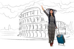 The young woman travelling to rome in italy Stock Photography