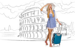 The young woman travelling to rome in italy Royalty Free Stock Photography