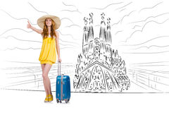 The young woman travelling to spain to see sagrada familia. Young woman travelling to Spain to see Sagrada Familia Stock Images