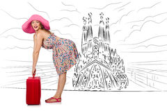 The young woman travelling to spain to see sagrada familia. Young woman travelling to Spain to see Sagrada Familia Royalty Free Stock Images