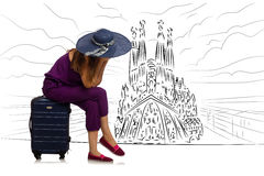 The young woman travelling to spain to see sagrada familia. Young woman travelling to Spain to see Sagrada Familia Stock Photography