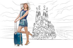 The young woman travelling to spain to see sagrada familia. Young woman travelling to Spain to see Sagrada Familia Stock Photos