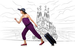 The young woman travelling to spain to see sagrada familia Royalty Free Stock Images