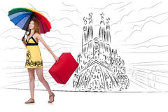 The young woman travelling to spain to see sagrada familia Stock Photos