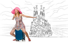 The young woman travelling to spain to see sagrada familia Royalty Free Stock Image