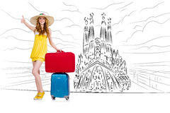 The young woman travelling to spain to see sagrada familia Stock Photo