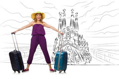 The young woman travelling to spain to see sagrada familia. Young woman travelling to Spain to see Sagrada Familia Royalty Free Stock Photos
