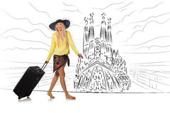 The young woman travelling to spain to see sagrada familia Royalty Free Stock Photography