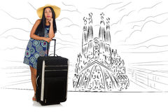 The young woman travelling to spain to see sagrada familia Royalty Free Stock Photos