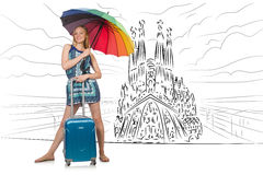 The young woman travelling to spain to see sagrada familia Stock Image