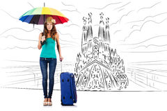 The young woman travelling to spain to see sagrada familia Stock Photography