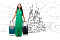 The young woman travelling to spain to see sagrada familia. Young woman travelling to Spain to see Sagrada Familia Royalty Free Stock Image
