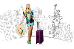 The young woman travelling to usa Royalty Free Stock Photos