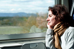 Young woman travelling by train