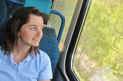 Young woman travelling by train Royalty Free Stock Photography