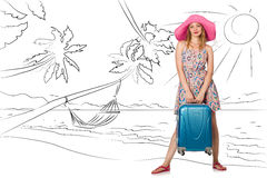 The young woman travelling tropical island in travel concept Stock Image