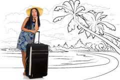The young woman travelling tropical island in travel concept Royalty Free Stock Photography