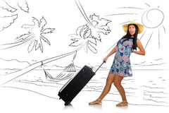The young woman travelling tropical island in travel concept Stock Photography