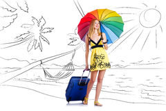 The young woman travelling tropical island in travel concept Stock Images