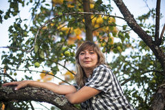 Young woman on a tree in the Apple orchard. Nature. Royalty Free Stock Photo