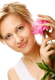 Young woman with tree-peony flower Royalty Free Stock Photos