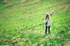 Young Woman with trekking poles hiking outdoor Stock Photos