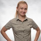 Young woman in trekking shirt stock photos