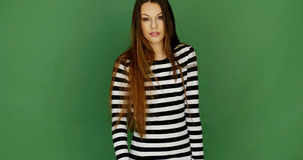 Young Woman in Trendy Black and White Stripe Dress Stock Images