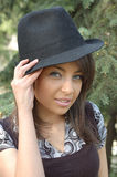Young woman in trendy hat Stock Photos