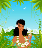 Young woman with tropical flowers Stock Photo