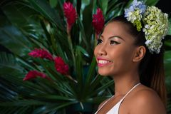Young woman in tropical forest Royalty Free Stock Image