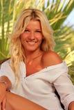 Young woman at tropical resort Royalty Free Stock Image