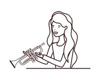 Young woman with trumpet character. Vector illustration design royalty free illustration
