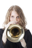 Young woman with trumpet Royalty Free Stock Photography