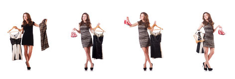 Young woman trying new clothing on white Stock Photos