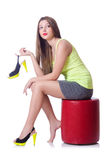 Young woman trying new shoes Royalty Free Stock Images